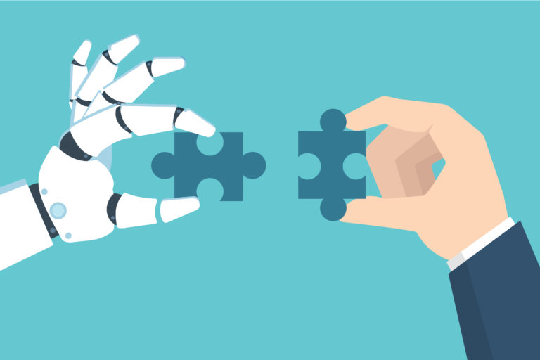 Robot and Businessman Hand holding puzzle. Partnership with a robot concept.